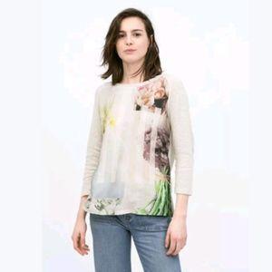 Zara Mixed Material Flower Print T-Shirt Pullover